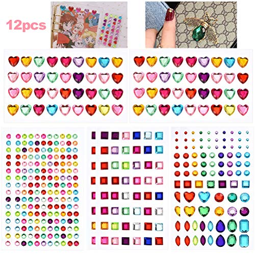 WOWOSS 974 Pcs Rhinestone Stickers Self-Adhesive Flatback Craft Bling Jewels Crystal Gem Stickers for Nail, Body, Makeup, Festival, Assorted Sizes and Shapes, 12 Sheets