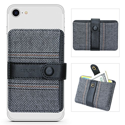 (Phone Card Holder Ultra-Slim Self Adhesive Stick-on Credit Card Wallet, Cell Phone Wallet with Pocket for Credit Card, ID, Business Card - iPhone, Android and Most Smartphones (Horizontal Stripe))