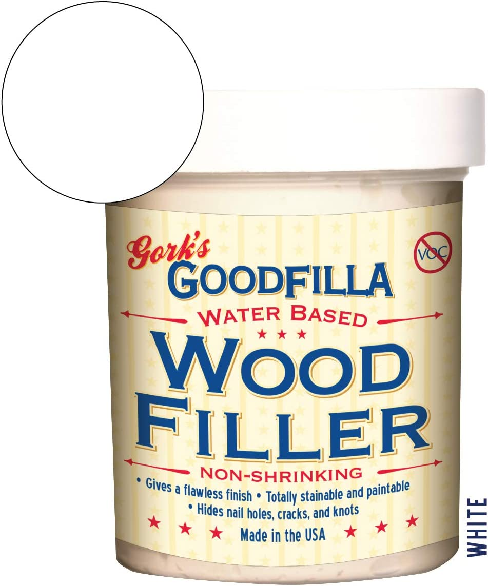 Water-Based Wood & Grain Filler - White - 8 oz by Goodfilla | Replace Every Filler & Putty | Repairs, Finishes & Patches | Paintable, Stainable, Sandable & Quick Drying
