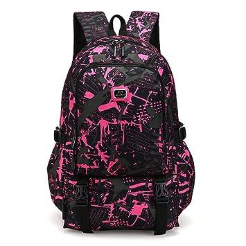 25ab8cf3aa5e Amazon.com  KONFA Teen Boys Girls Camouflage Travel School Backpack Nylon  Bags Laptop Bag (Pink)  Beauty