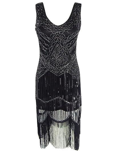 Whoinshop Women Vintage Sequin Art Nouveau Deco High Low Fringe 1920s Style Flapper  Dress Black XS b90db15f9063
