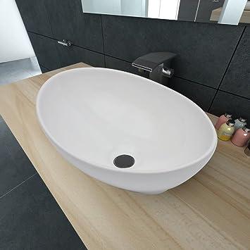 SENLUOWX Keramik Waschtisch Waschbecken Oval Keramikspülen Weiß 400 ...