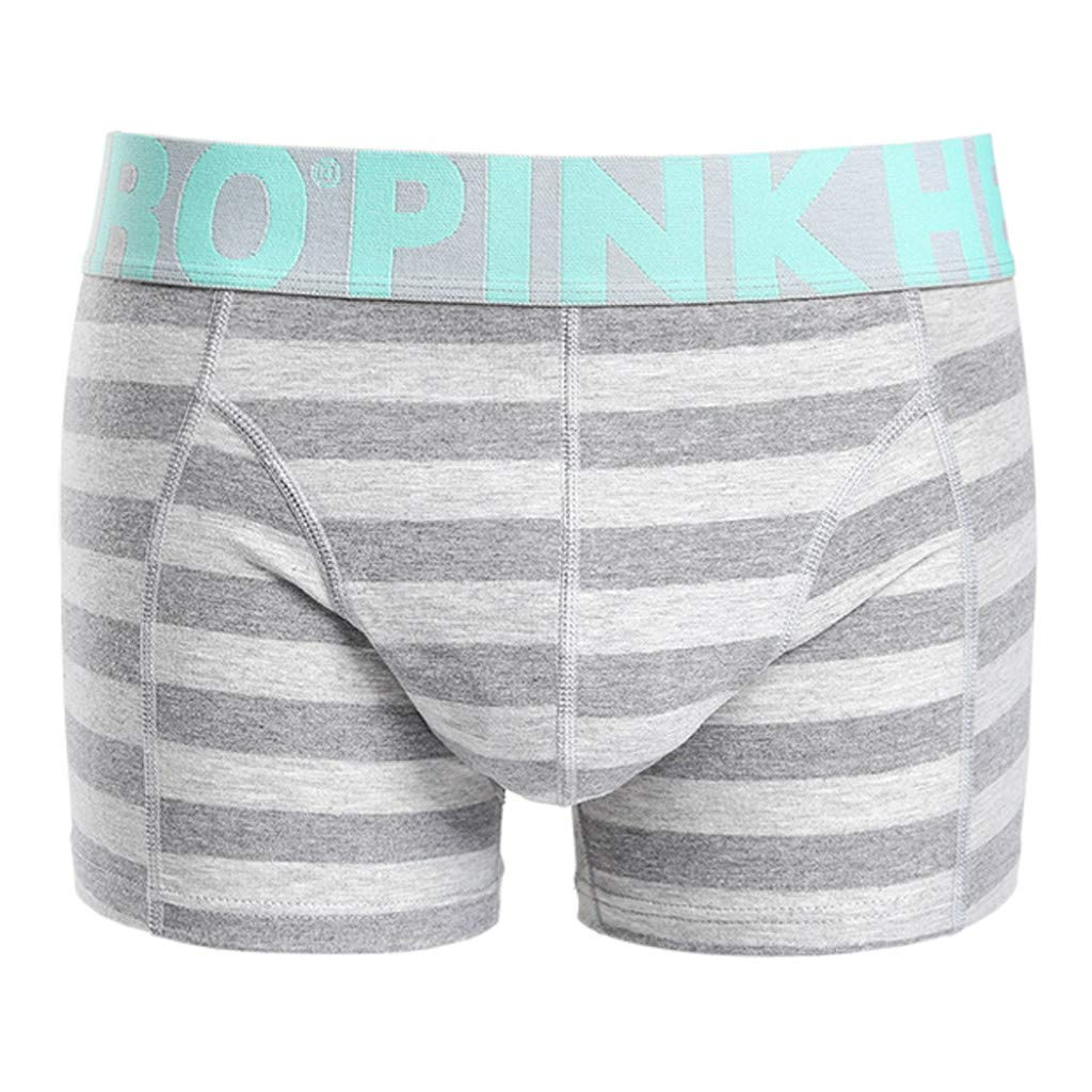 Voberry@ Men's Boxer Briefs Men Sexy Stripe Underwear Funny Soft Shorts Panties