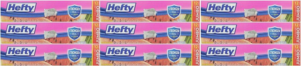 Hefty Slider 2.5 Gallon aaAUY Jumbo Storage Bags, 36 Count (3 Pack)