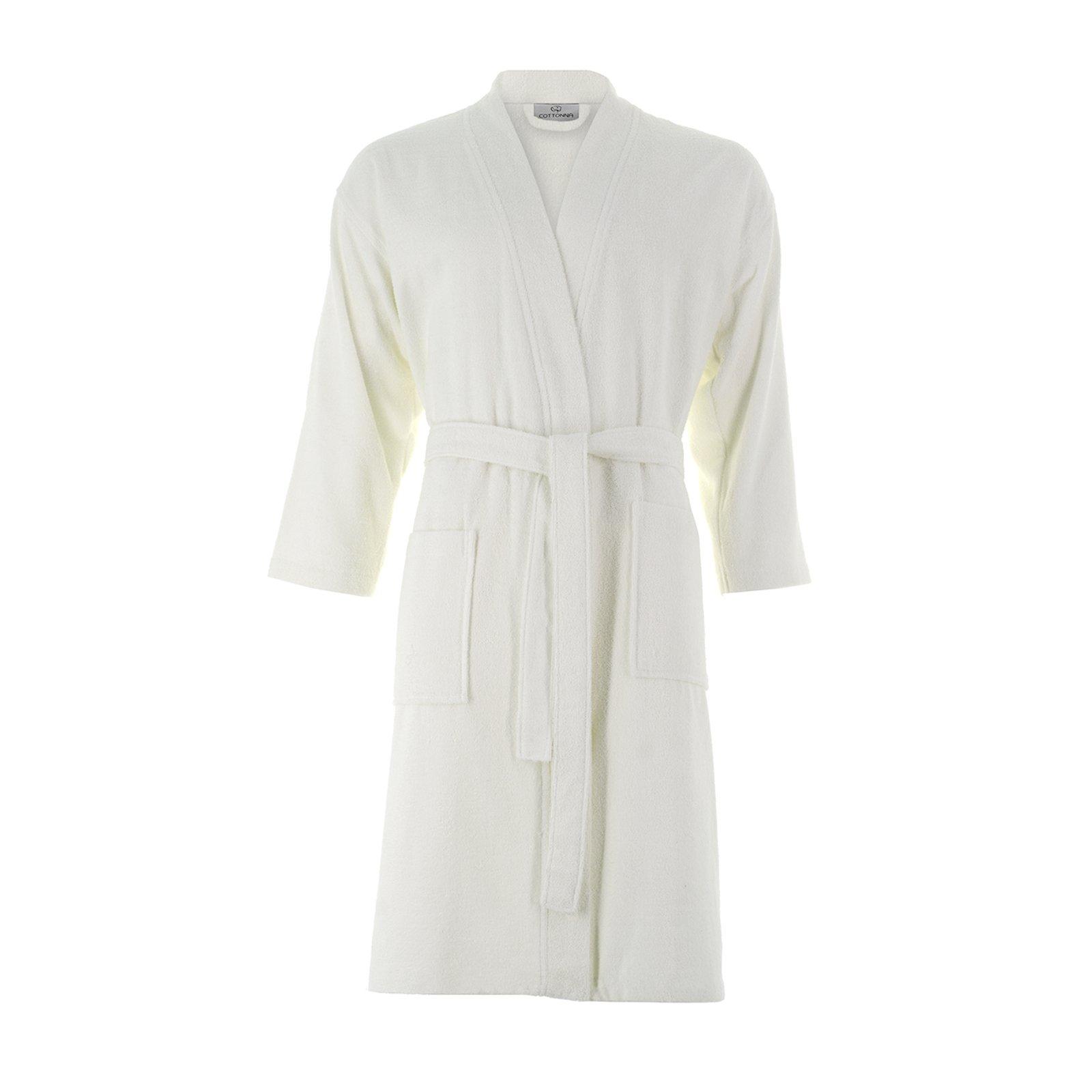 Cottonna 100% Turkish Cotton Bathrobe - Kimono Style - Knee Length - Terry Cloth Robe (Small, White)