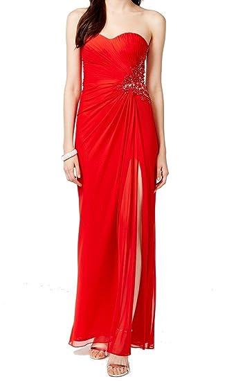 XSCAPE $229 Womens New 1530 Red Strapless Rhinestone Prom Dress 10 B+B