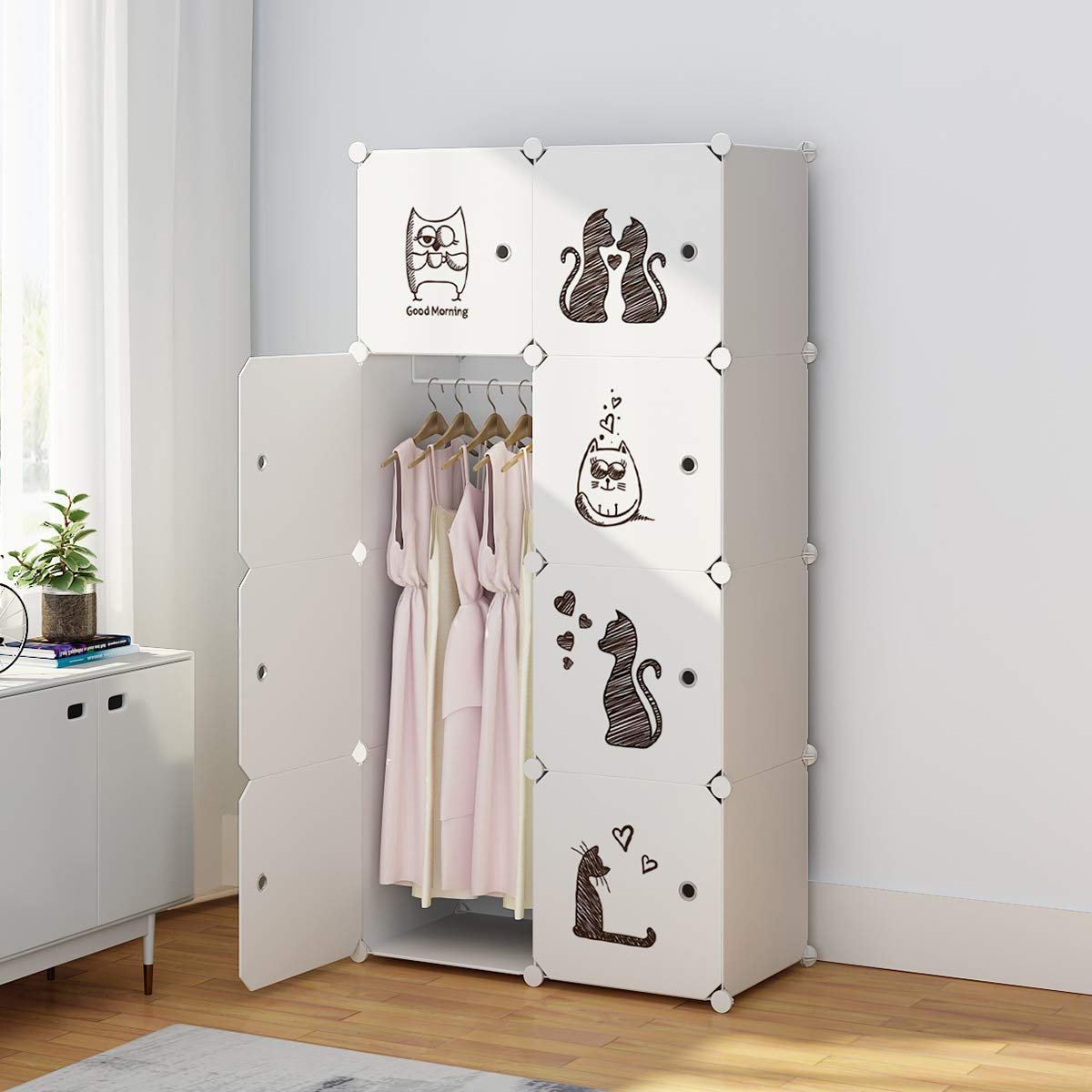 KOUSI Portable Clothes Closet Wardrobe Bedroom Armoire Dresser Cube Storage Organizer, Capacious Customizable-White Cat (5 Cubes 1 Hanging Clothes-FBA)