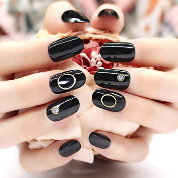 Amazon.com: EBANKU - 24 uñas postizas decoradas con ...