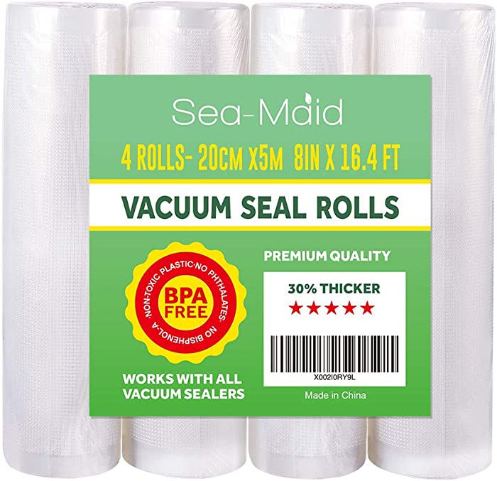 "Vacuum Sealer Roll Bags 4 Pack 8""x16.4' Commercial Food Storage Rolls for Sous Vide Seal Bags"