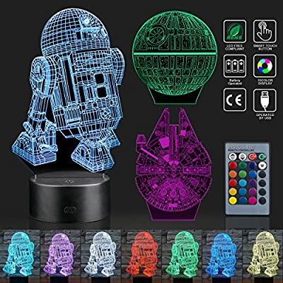 Aimego 3D Illusion Lamp Star Wars Night Light - 3 Patterns 15 Colors - R2-D2 + Death Star + Millennium Falcon