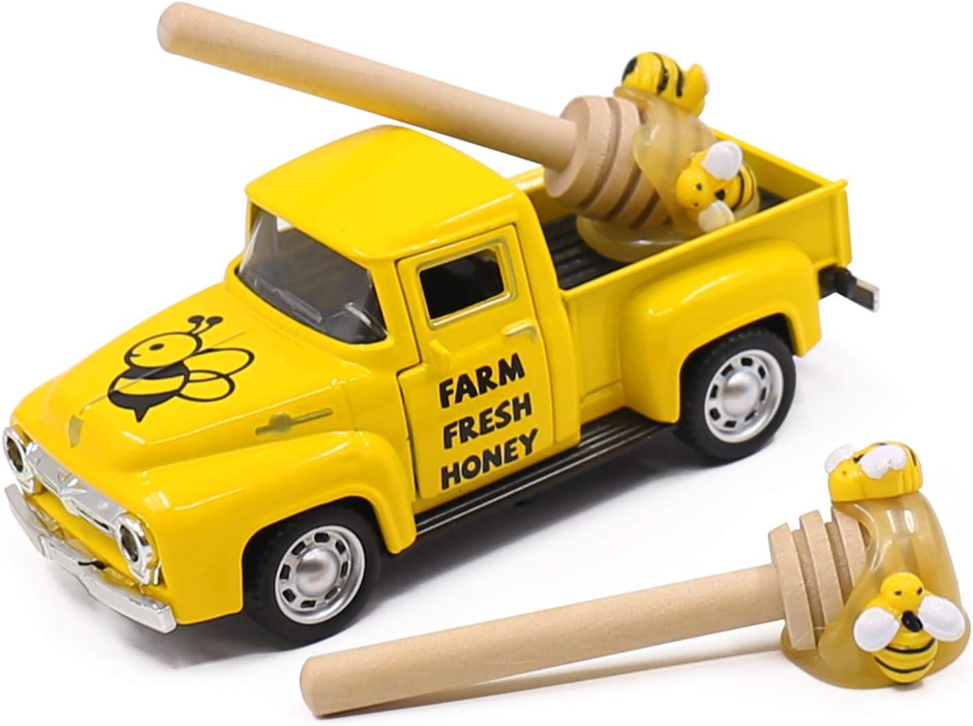 Huray Rayho Mini Farm Fresh Honey Yellow Truck Toy with Faux Honey Dippers Farmhouse Honeybee Tiered Tray Decor Vintage Pickup Metal Truck Spring Summer Bookshelf Table Decors
