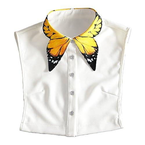 Collar de Camisa Falso,Vococal® Collar Falso Patrón Amarillo Elegante de la Mariposa Otoñales para M...