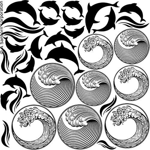 Dolphins & Waves Black Enamel Fusible - Enamel Black Fusible Decal
