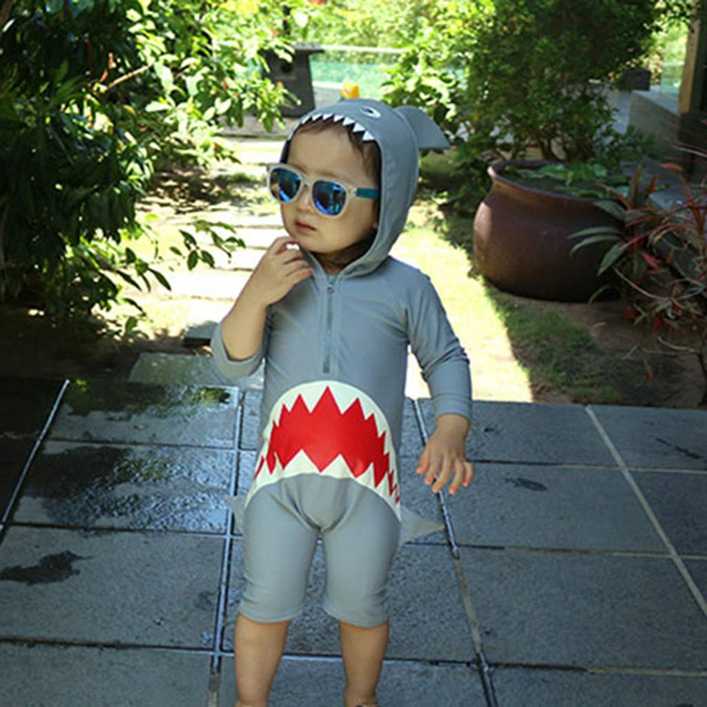 2-7 Years Toddler Baby Boy Girl Children Long Sleeve Cartoon Shark Beach Swimsuit Swimwear Bathing Suit 1PC Zolimx Kids Swimwear Sets Summer