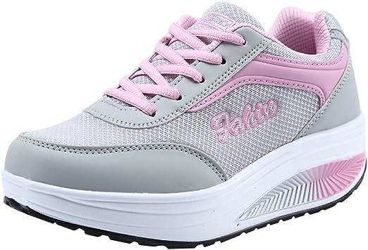 Zapatillas de Deportivos de Running para Mujer Gimnasia Ligero Sneakers,ZARLLE Moda Mujer Malla Zapatos de Aumento de Fondo Suave Zapatos de balanceo Zapatillas de Deporte: Amazon.es: Ropa y accesorios