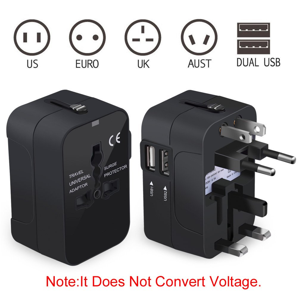 NEWVANGA International Universal All in One Worldwide Travel Adapter Wall Charger AC Power Plug Adapter with Dual USB Charging Ports for USA EU UK AUS European Cell Phone Laptop by NEWVANGA (Image #2)
