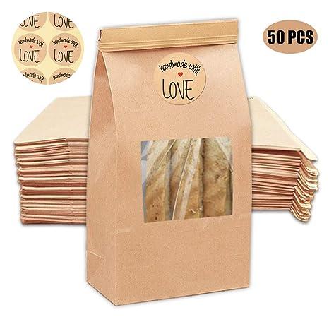 Amazon.com: NPLUX - 50 bolsas de papel kraft para panadería ...