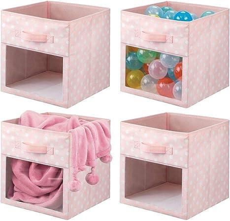 mDesign Juego de 4 cajas organizadoras de tela – Organizador de armario para ropa de bebé, mantas, etc. – Caja de almacenaje de lunares con asa y ventanilla – rosa/lunares blancos: Amazon.es: Hogar