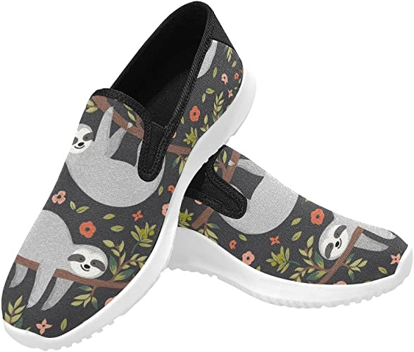 InterestPrint Custom Dinosaurs Slip On loafers Women/'s Canvas Flat Shoes