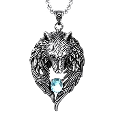 OCTCHOCO Men's Necklace Wolf Pendant with 24 Inches Chain Titanium Steel  Necklace for Men Gift for