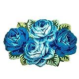 Ustide 4 Rose Rug Floor Runner Handmade Rug Blue Floral Mats Anti-Slip(Non-Slip) Modern Carpet Washable Floor Mats for Bedroom/Sofa/Bathroom