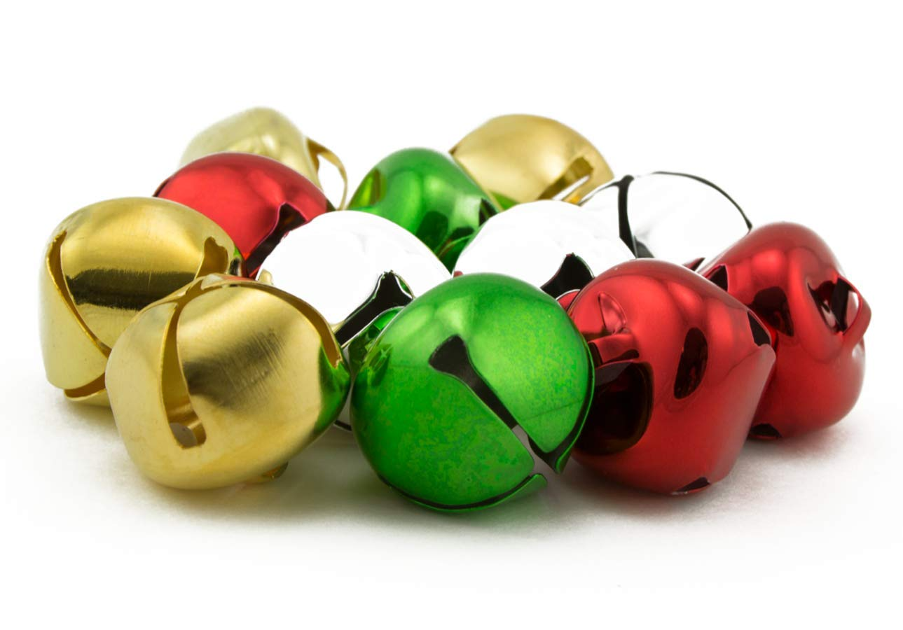 1 inch 25mm Gold Silver Red Green Mix Large Craft Jingle Bells Bulk 144 Pieces by Art Cove (Image #1)