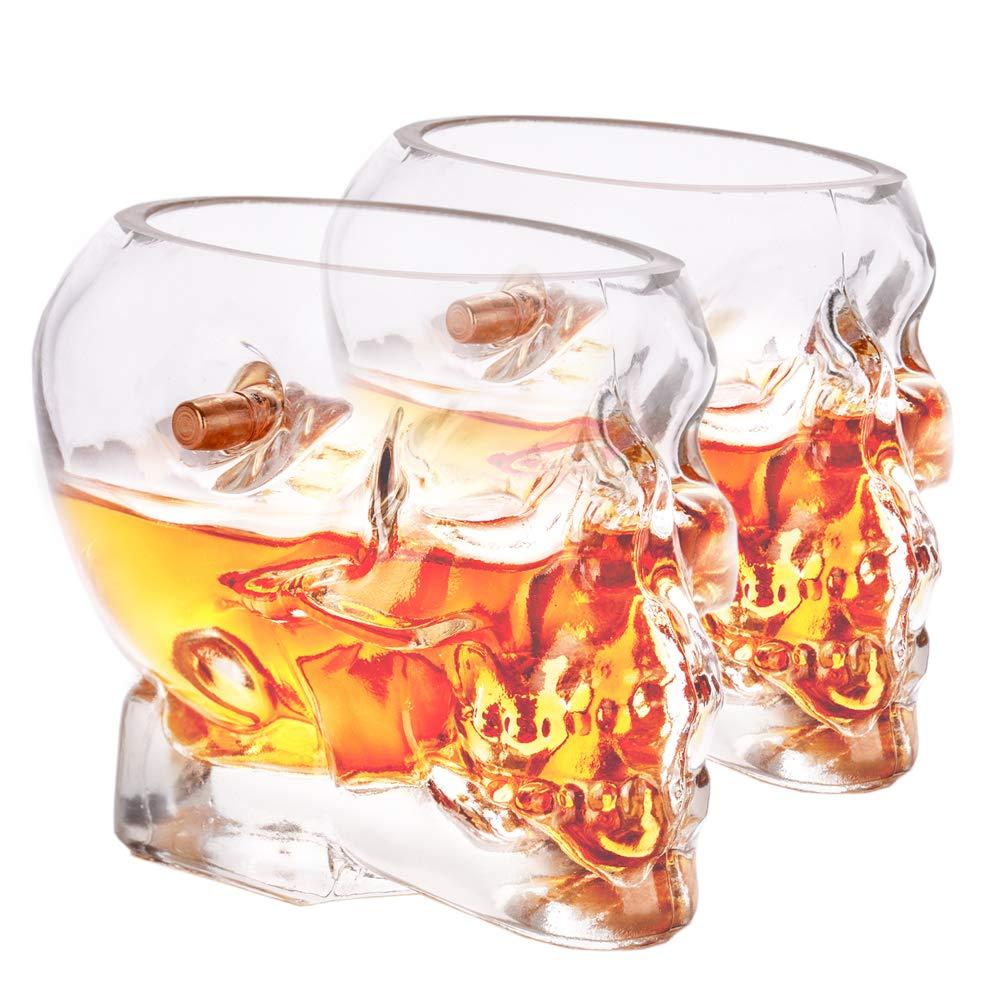 Lucky Shot .308 Real Bullet Handmade Skull Whiskey Glass Set of 2