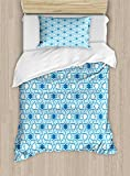 Arabian Duvet Cover Set by Ambesonne, Old Historical Oriental Ancient Ottoman Artwork with Pattern of Stars Geometric Art, 2 Piece Bedding Set with Pillow Sham, Twin / Twin XL, Blue White