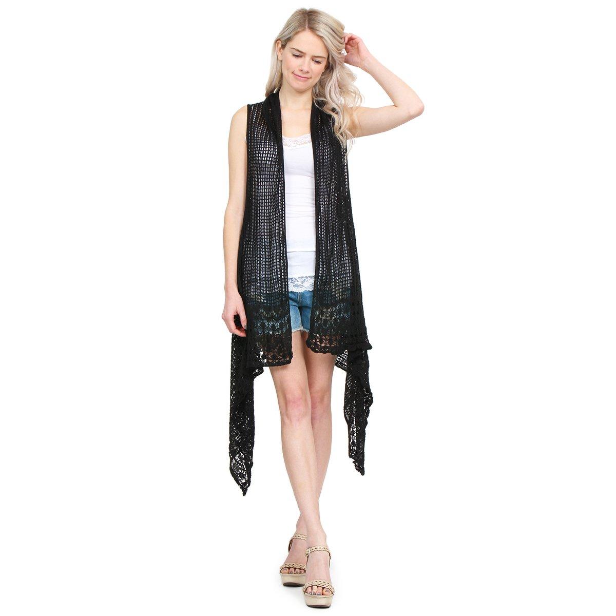 MYS Collection Crochet Knit Pattern Long Drape Vest - Beachwear Open Knitted Bathing Swimsuit Bikini Cover up Kaftan Shawl (Black)