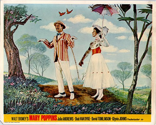 MARY POPPINS ORIGINAL BRITISH LOBBY CARD JULIE ANDREWS DICK VAN DYKE WALT DISNEY from Silverscreen