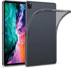 """ESR Rebound Soft Shell Case for iPad Pro 12.9"""" 2020 & 2018, Clear TPU Back Cover, Supports Pencil Wireless Slim-Fit Shell Case, for iPad Pro 12.9"""", Translucent Black"""