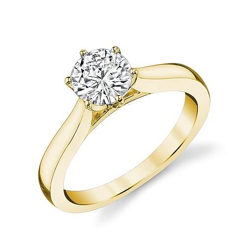 46b5a6599e80 Charles   Colvard Forever One anillo de compromiso - Oro amarillo 14K -  Moissanita de 5 mm de talla redonda
