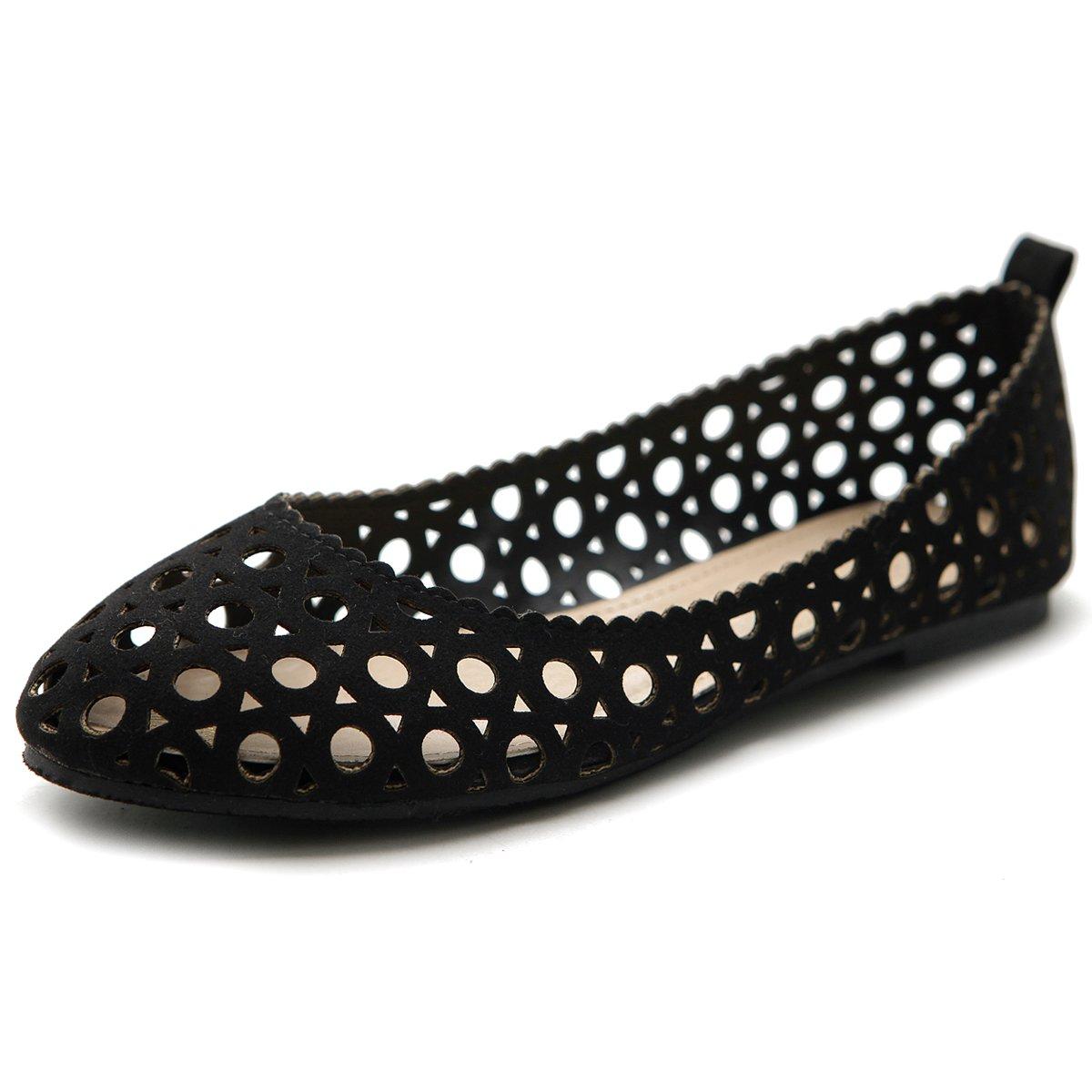 Ollio Women's Shoe Ballet Cut Out Comfort Flat B00NH2BF48 8.5 B(M) US|Black