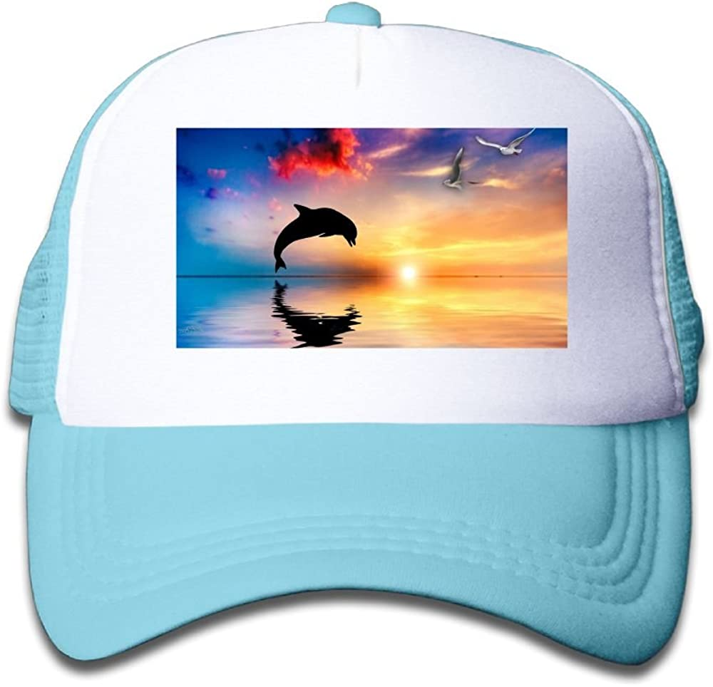Usieis Kids Cap Dolphin Jumping Mesh Hat Dad Cap Baseball Hat Adjustable Trucker Cap for Boys/&Girls