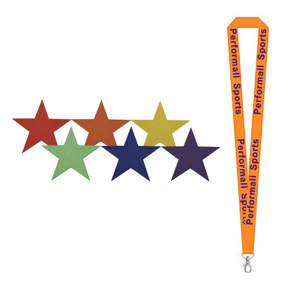 Champion Sports 9'' Poly Star Marker Set Assorted (Set of 6) Bundle with 1 Performall Lanyard PSRSET-1P by Champion Sports