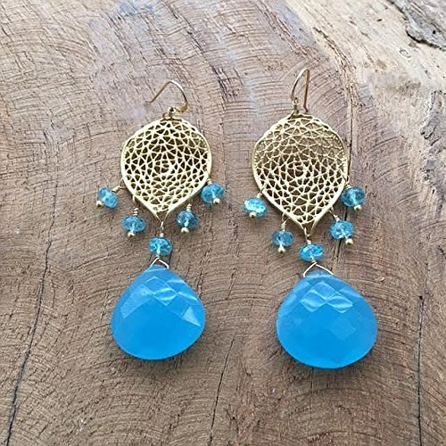 Blue Chalcedony Earrings | Apatite Earrings | 24K Gold Vermeil Earrings | Chandelier Earrings | Bohemian Earrings