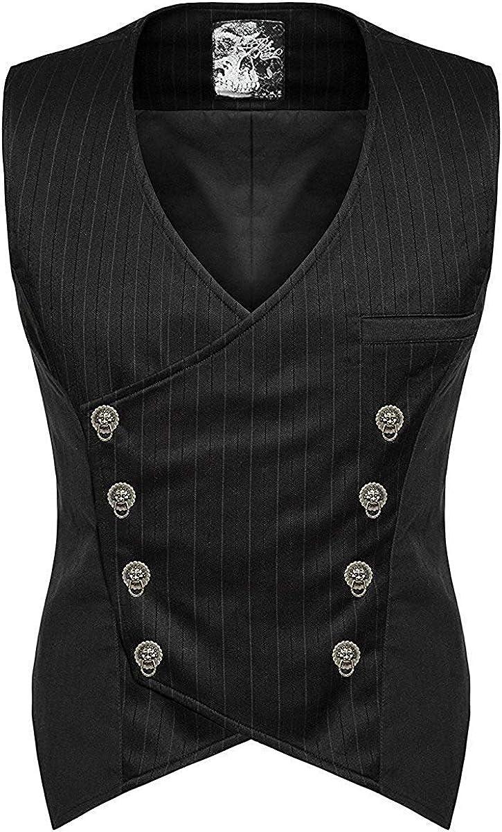 Punk Rave Hombre Steampunk Chaleco Camiseta Negro Gótico Victoriano CABALLERO Boda: Amazon.es: Ropa y accesorios