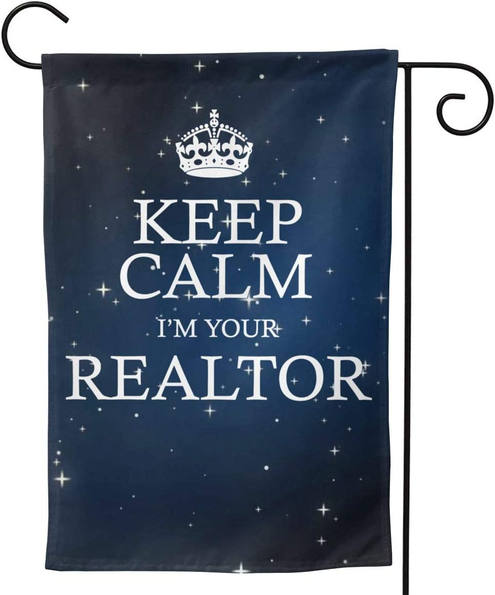 "HOUDIYUANFUSHI Keep Calm I'm Your Realtor Garden Flag Welcome Banner for Patio Lawn Party Yard Home Outdoor Decor, On Both Sides, 12.5""X18"" / 28""X40"""