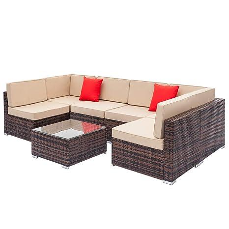 Amazon.com: Juego de sofá de ratán totalmente equipado con 2 ...