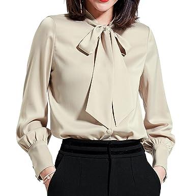 5153c27386d5ff YOUMU Women Satin Silk Bow Tie Neck Shirt Long Sleeve Button Down Blouse Top