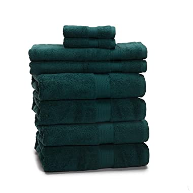 900 GSM 8 Piece Towel Set - Luxurious 100% Egyptian Cotton, Heavy Weight & Absorbent - 4 Large Bath Towels 30x55, 2 Hand Towels 20x30, 2 Face Towels 13x13, Teal