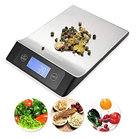 AEVOBAS Báscula Digital para Cocina de Acero Inoxidable, 10kg/1g, 7 Modos,