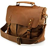 GEARONIC Genuine Leather Canvas Messenger Vintage Satchel Shoulder Bag for School Laptop