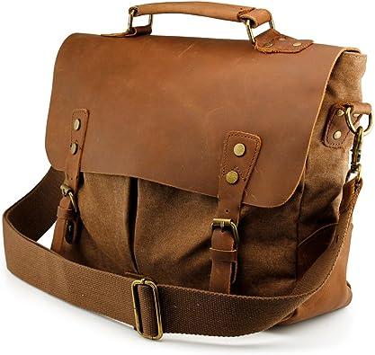 Men/'s Vintage Canvas Leather Shoulder Bag Messenger Travel School Briefcase Bag
