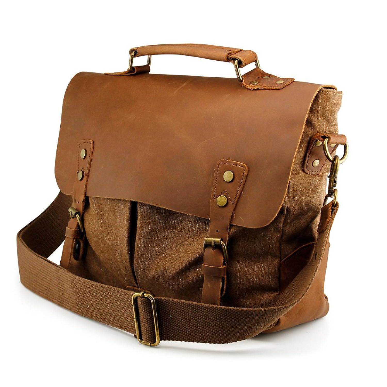 Amazon.com: GEARONIC TM Men's Vintage Canvas Leather Messenger Bag ...