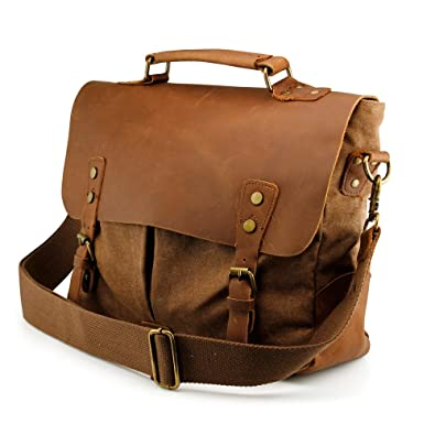 8f05c1e0e GEARONIC TM Men's Vintage Canvas Leather Messenger Bag Satchel School  Military Shoulder Travel Bag for Notebook