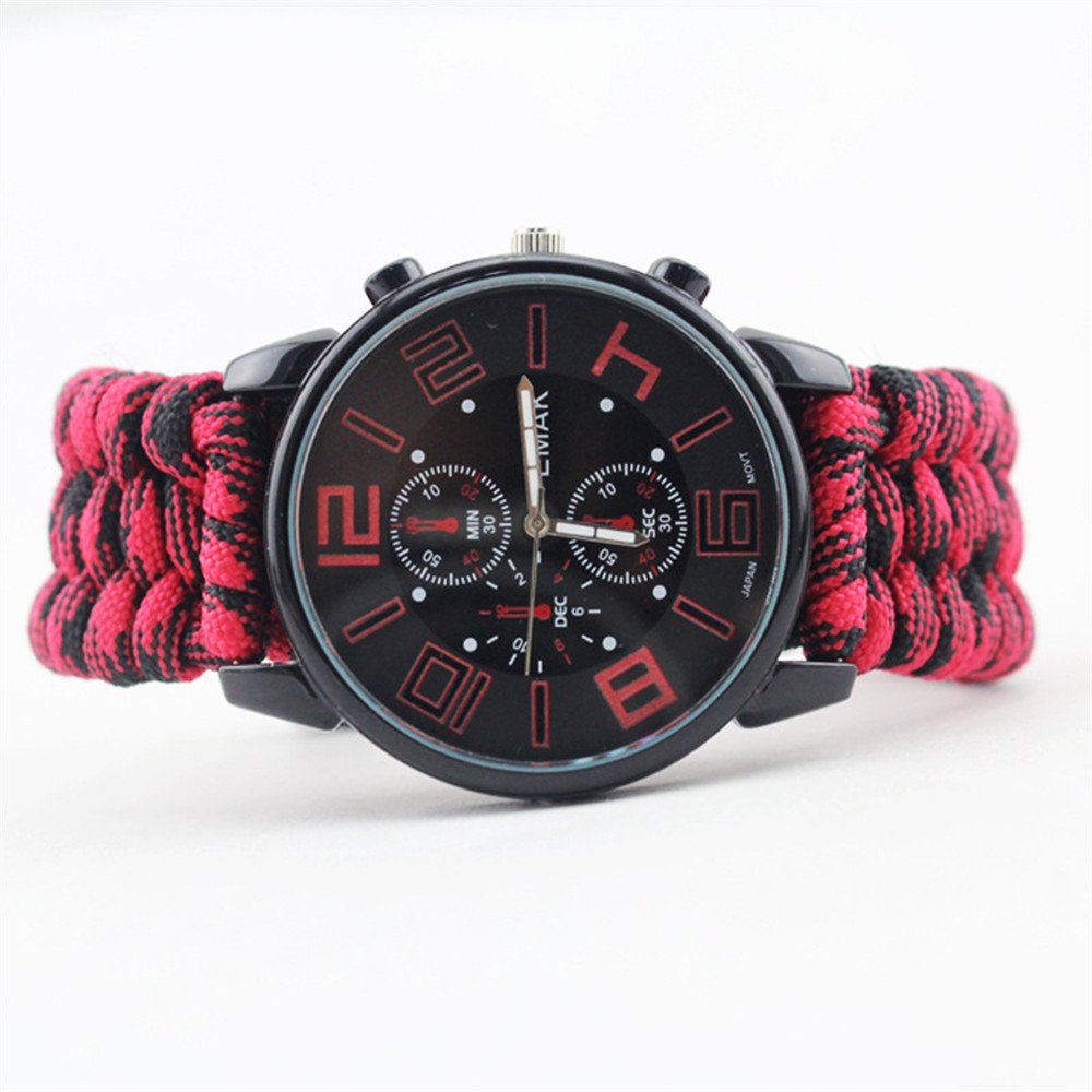 topshionファッションメンズ光コンパス傘ロープサバイバルWatchフリントLife防水watch-as A Goodクリスマスプレゼントをハイキング B075L9P8PH レッド レッド