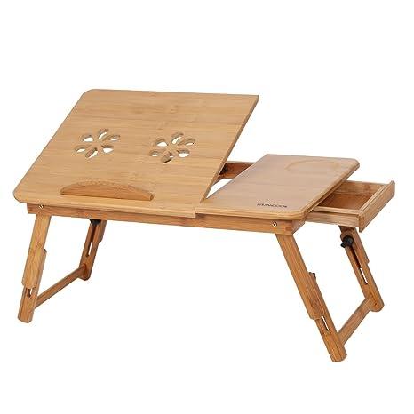 Cocoarm Mesa para Ordenador Portatil de Bambú, Bandeja de Desayuno con Ranuras de Ventilación Patas Ajustable para Cama y Sofá de Lectura, 50×30×20cm ...