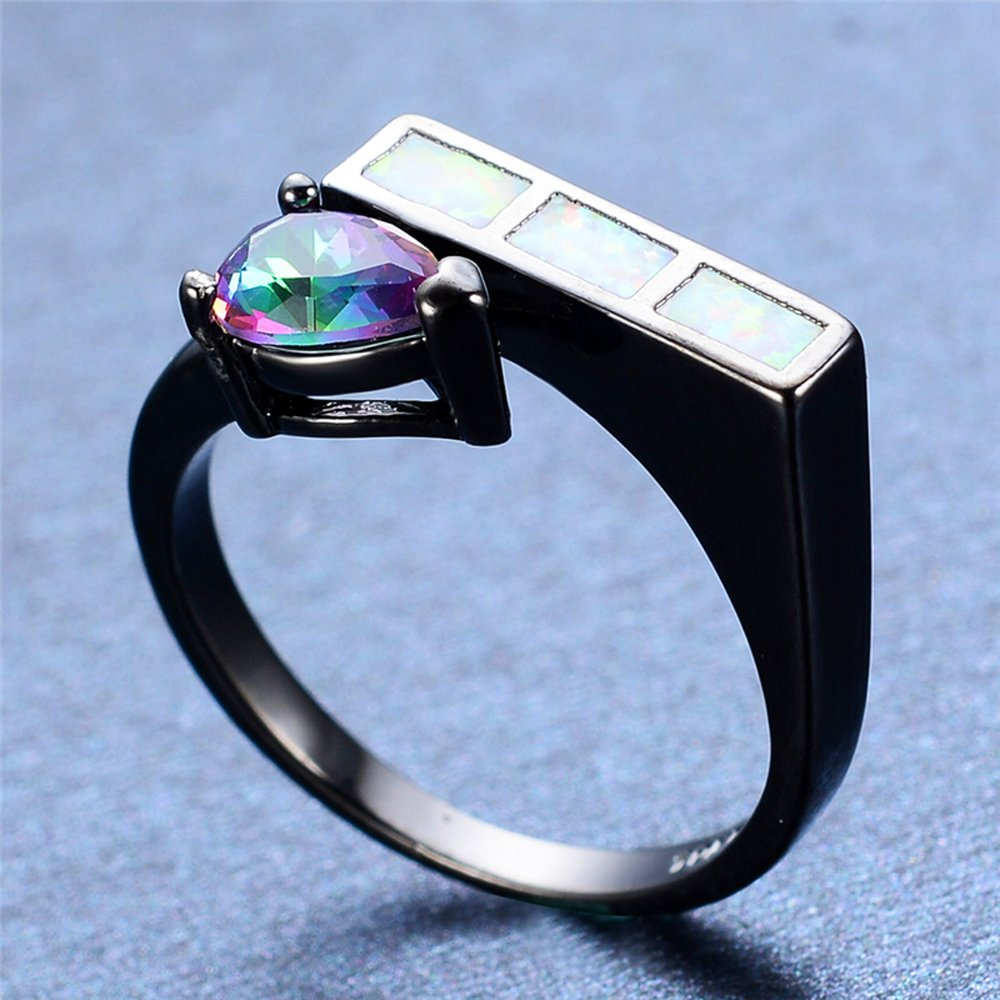 Jewel White Opal Rings Jewelry Water Drop Wedding Rings For Women Engagement Bridal Rings FJT