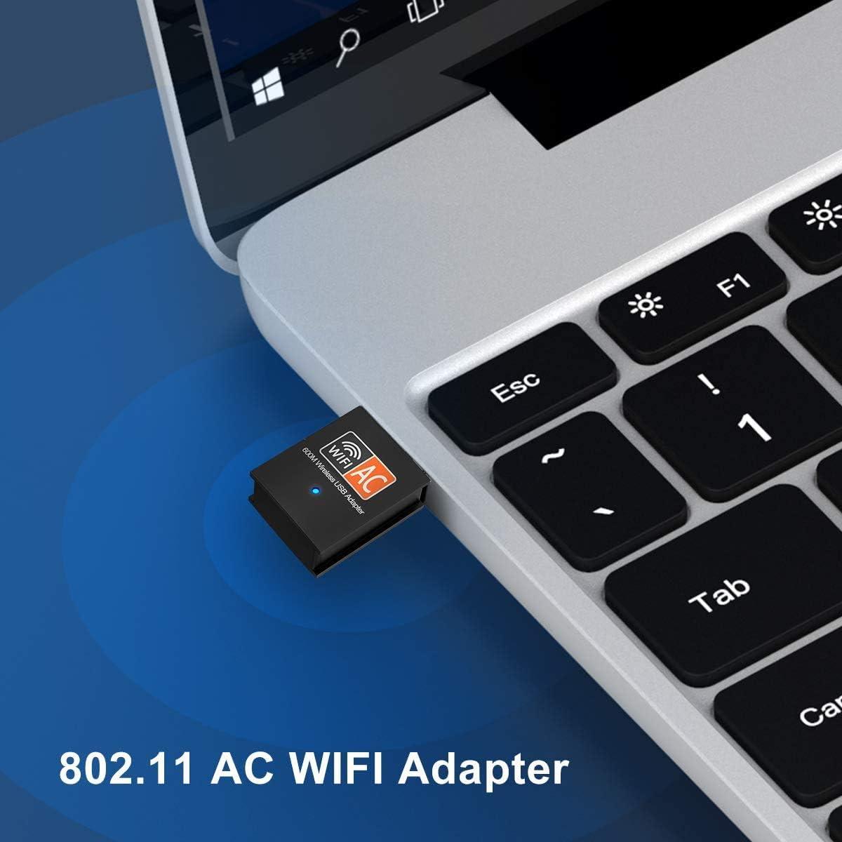 SHIVR WiFi Dongle Adaptador USB WiFi 600Mbps 2.4//5 GHz Mini Adaptador USB WiFi Antena LAN Adaptador 802.11ac//a//b//g//n para computadora port/átil Windows 10//8//8.1// 7